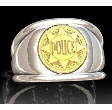 Police nationale - Argent massif + Insigne  or 9 carats - Autres Corporations