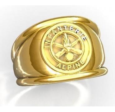 INFANTERIE ALPINE- Or massif jaune ou gris - Armée de Terre Sur devis selon cours du jour de l'Or et taille de doigt