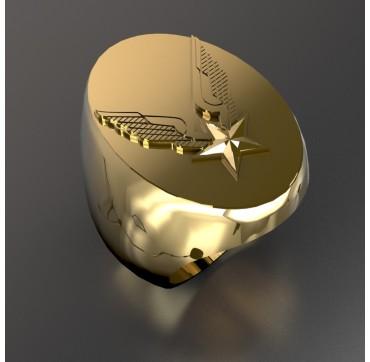 Alat ovale - Or massif jaune ou gris - Armée de Terre Sur devis selon cours du jour de l'Or et taille de doigt