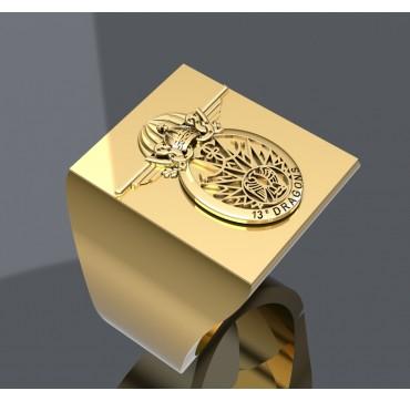 EMBLÈME 13EME RDP - Or massif jaune ou gris - selon cours du jour de l'Or et taille de doigt