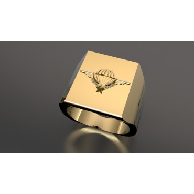 CHEVALIERE BREVET PARACHUTISTE - Or massif jaune ou gris - Sur devis selon cours du jour de l'Or et taille de doigt