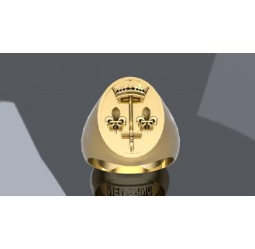 ARMES JEANNE D'ARC - Or massif jaune ou gris - Armée de Terre Sur devis selon cours du jour de l'Or et taille de doigt