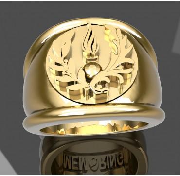 COMMISSARIAT ARMEE DE TERRE - Or massif jaune ou gris - selon cours du jour de l'Or et taille de doigt
