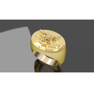 BREVET ALPIN MONTAGNE - Or massif jaune ou gris - Armée de Terre Sur devis selon cours du jour de l'Or et taille de doigt