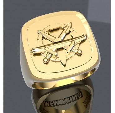 Sous mariniers commandant - Or massif jaune ou gris 18k - selon cours du jour de l'Or et taille de doigt