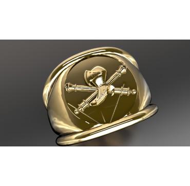 CHARS DE COMBAT - Or massif jaune ou gris - Armée de Terre Sur devis selon cours du jour de l'Or et taille de doigt
