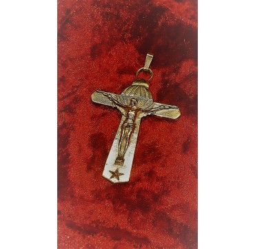 CRUCIFIX BREVET PARA FRANCAIS PLAQUE OR